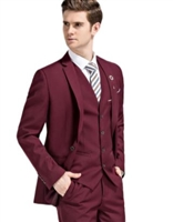 Caravelli  Solid Burgundy Vested Slim Suit