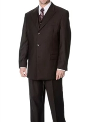 Caravelli 3 Piece Vested Solid Brown Wide Leg Suit Modern Fit