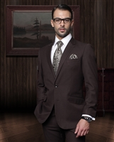 Statement Solid Brown Suit Modern Fit