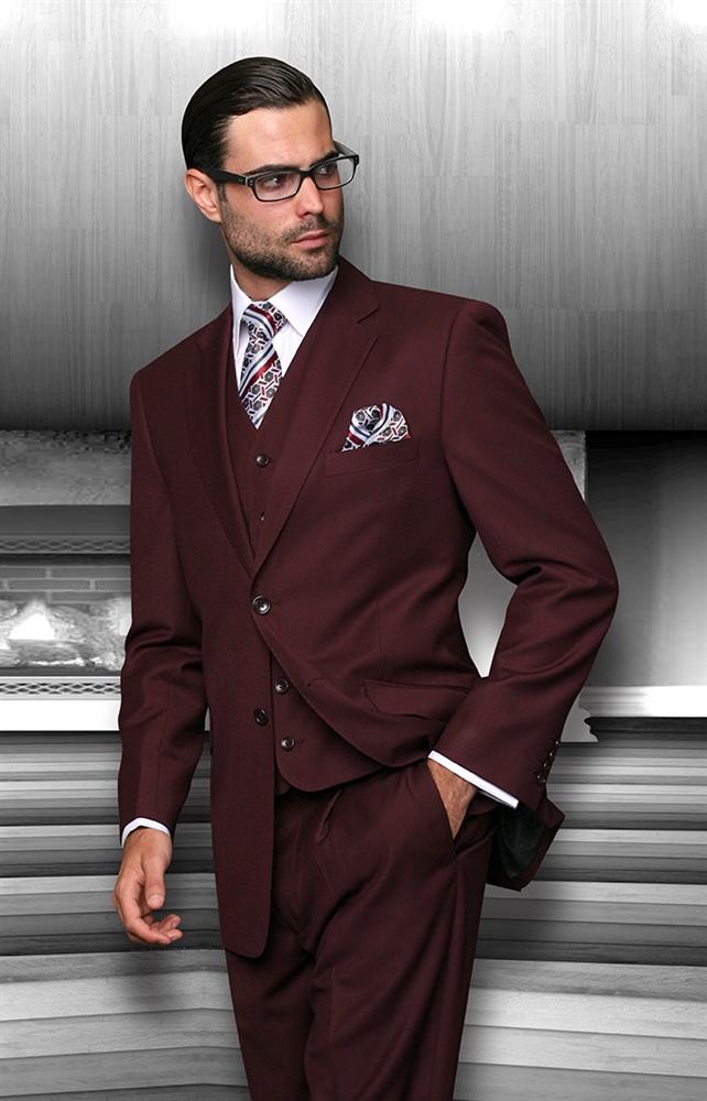Statement Solid Burgundy Suit Modern Fit Burgundy