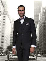 Statement Solid Black Suit Modern Fit