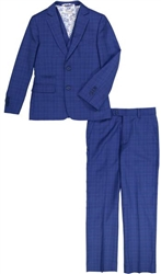 Boy's American Exchange Blue Plaid Suit