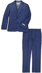 Boy's American Exchange Navy Plaid Suit