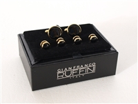 Tuxedo Cufflinks and Studs Set - Gold Trim with Black Center