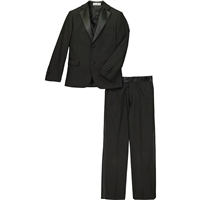 Boy's Black Satin Notch Tuxedo