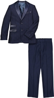 Boy's Navy Satin Notch Tuxedo
