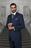 Statement Solid Navy Suit Pleated Modern Fit