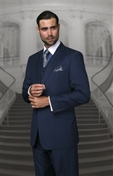 Big & Tall Statement Solid Navy Suit Pleated Modern Fit