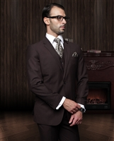 Big & Tall Statement Solid Brown  Suit Pleated Modern Fit
