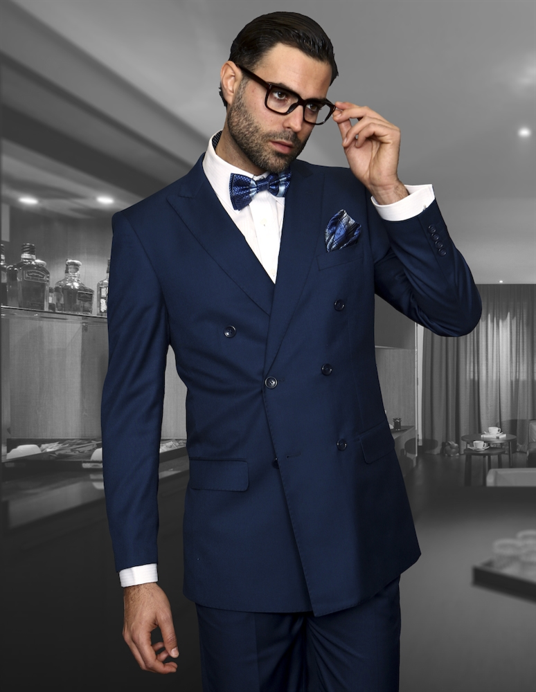 Big Amp Tall Statement Solid Indigo Suit Pleated Modern Fit