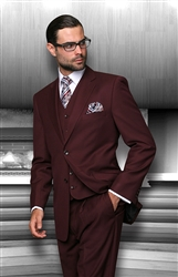 Statement Solid Burgundy Suit Pleated Modern Fit