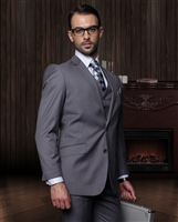Statement Solid Charcoal Suit Pleated Modern Fit