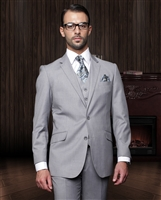 Statement Solid Grey Suit Pleated Modern Fit