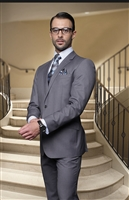 Statement Solid Heather Grey Suit Pleated Modern Fit