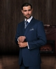 Statement Solid Indigo Suit Pleated Modern Fit