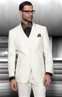 Statement Solid Off White Suit Pleated Modern Fit
