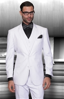 Statement Solid White Suit Pleated Modern Fit