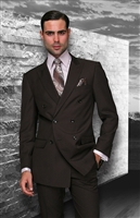 Big & Tall Statement Solid Brown Double Breasted Suit Modern Fit