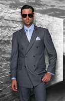 Big & Tall Statement Solid Charcoal Double Breasted Suit Modern Fit