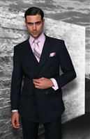 Big & Tall Statement Solid Navy Double Breasted Suit Modern Fit