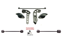 Kawasaki ZX6R / ZZR600 No Cut Frame Front & Rear Axle Sliders Spools