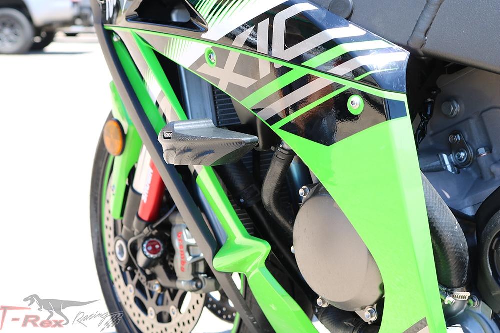 T-Rex Racing 2011-2019 Kawasaki ZX-10R No Cut Frame Front /& Rear Axle Sliders Case Covers Spools Black