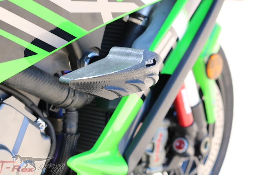 T-Rex Racing No Cut Frame Front Axle Sliders Spools for Kawasaki 2011-2019 ZX-10R Black