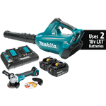 Makita XBU02PTX1 18V X2 LXT Lithium-Ion (36V) Cordless Blower Kit & Brushless Angle Grinder (5.0 Ah)