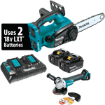 "Makita XCU02PTX1 18V X2 LXT Lithium-Ion (36V) Cordless 12"" Chain Saw Kit and Brushless Angle Grinder (5.0 Ah)"