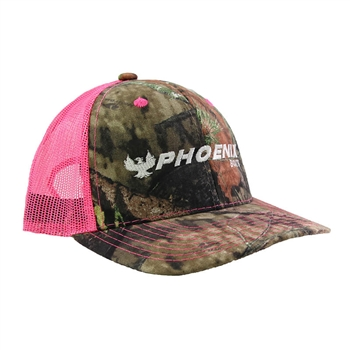 Ladies Mossy Oak Cap - Camo / Neon Pink