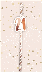 21st Birthday Rose Gold Straws