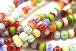 Bead, Chevron, Glass, 8MM, Round, Mixed Color