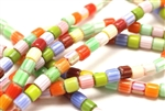 Bead, Chevron, Glass, 6MM, Tube, Mixed Color