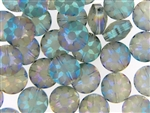Etched Star Crystal Bead 14MM Puffed Coin / Pale Citrine Translucent Green Iris