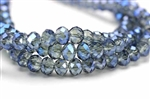Bead, Crystal, Rondelle, Faceted, 6MM X 8MM, Light Aqua, 1/4 Blue Iris