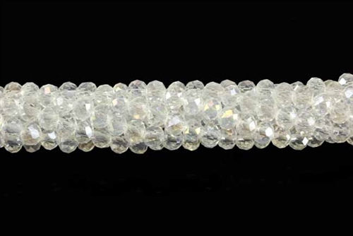 Bead, Crystal, 3MM X 4MM, Rondelle, Crystal AB