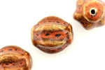 Burnt Orange Earth Tone Porcelain Beads / Large Fluted Round
