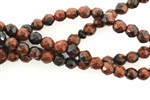Gemstone Bead, Mahogany Obsidian, Faceted, Round, 6MM