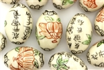 Light Ivory Colored Porcelain Beads / Oval
