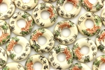 Light Ivory Colored Porcelain Beads / Small Ring