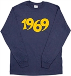 1969 Long Sleeved Unisex Navy Top - Retro, 60's, Punk Rock, Stooges, S-XXL, Tshirt , Vintage Style