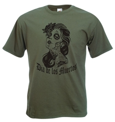 Day Of The Dead T-Shirt, Dia De Los Muertos, Woman Tattoo, All Sizes & Colours