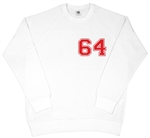 Retro '64' Varsity White Raglan Sweatshirt - 1960's, Retro, Mod, College, S-XXL Counter Culture, Carnaby, Weller, Vintage Style Top, Sweater, Jumper