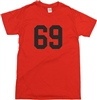 69 College Style Red T-Shirt - Retro, Cult, Punk, Varsity, 60's, 70's, S-XXL, Letterman, University, Vintage Style, Tshirt Top, Rocker