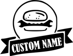 Personalised Custom Printed Burger Logo T-Shirt - Add Your Own Text And Date, Customised T-Shirt Top, Hipster,