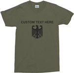 Custom Eagle Army Green T-Shirt - Personalise With Your Own Text, German, Germany, Military, Army, Retro, Customise