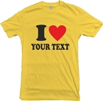 I Heart 'Your Text' Personalised Custom Print Love T-Shirt - Various Cols, S-XXL, Retro, 70's, Tshirt Top