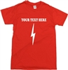 Custom Lightning Bolt T-Shirt - Personalised, Add Your Own Text, Various Colours, Retro, Glam Rock, Superhero, Customised, Tshirt Top