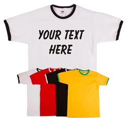 Custom Printed Personalised T-Shirts - Ringer T-shirt, All Sizes/Various Colours