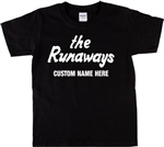Custom Name Runaways T-Shirt - Add Your Custom Name, Joan Jett, Various Colours, Punk, Glam, 1970's, Retro, Personalised Top